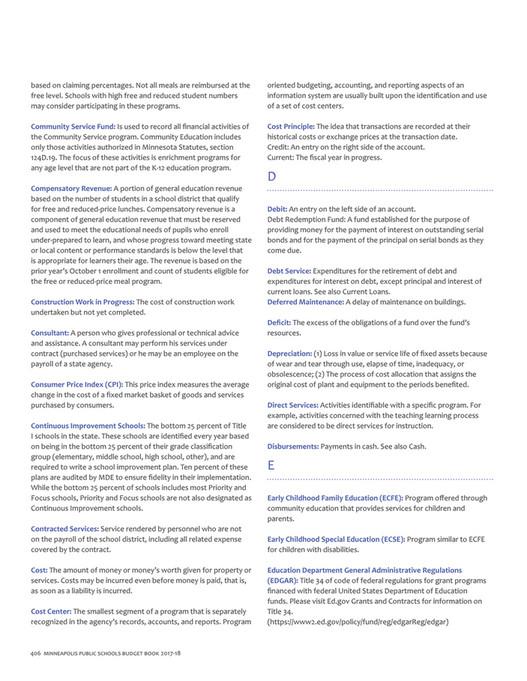 Minneapolis Public Schools Budget book - 2018-19 - Page 420-421